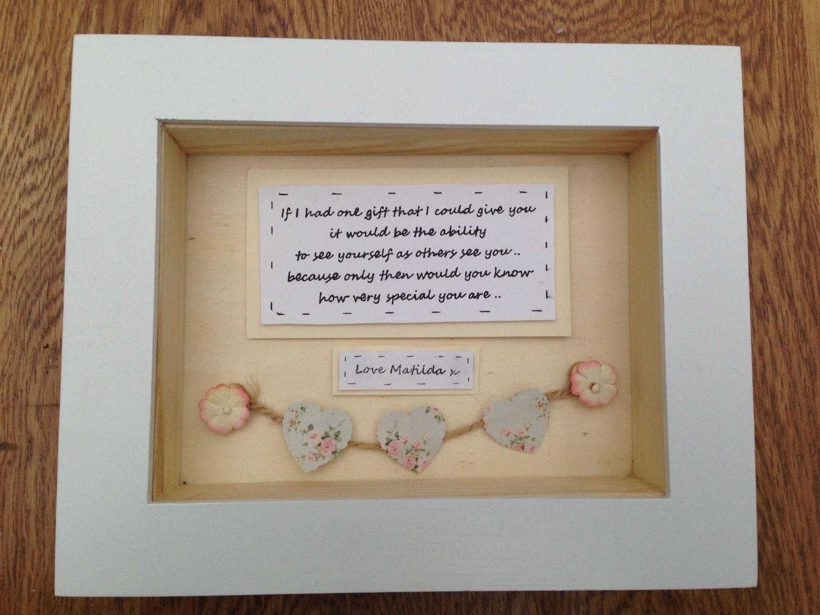 shabby personalised chic box frame gift special best friend friendship any names
